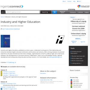 """Screenshot der Zeitschrift """"Industry and Higher Education"""" auf der Plattform """"ingentaconnect"""""""