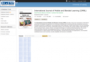 "Screenshot der Zeitschrift ""International Journal of Mobile and Blended Learning"" auf der Plattform IGI Global"