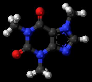 Koffein in 3D. Schwarz: Kohlenstoff, Blau: Stickstoff, Weiss: Wasserstoff, Rot: Sauerstoff.