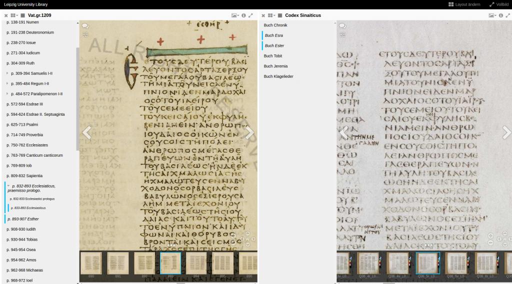 Codex Sinaiticus und Codex Vaticanus in einer Mirador Oberfläche