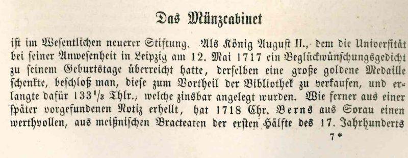 Friedrich Bülau, Sr. Majestät des Königs Johann von Sachsen Besuch der Universität Leipzig ..., Leipzig 1858, S. 99.