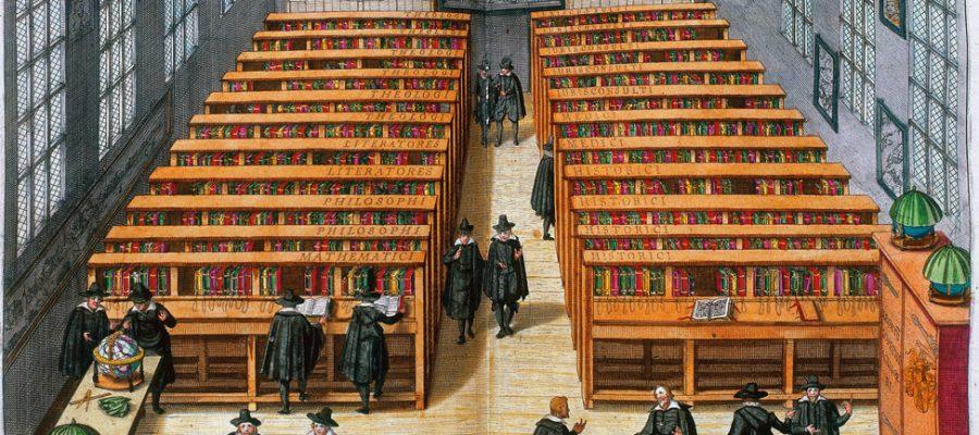 Pultaufstellung nach Fakultäten am Beispiel der Universitätsbibliothek Leiden, 1610. Die Bücher sind an die Pulte gekettet.