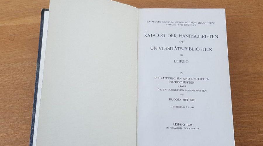 Erster Band der lateinischen udn deutschen Handschriften von 1926