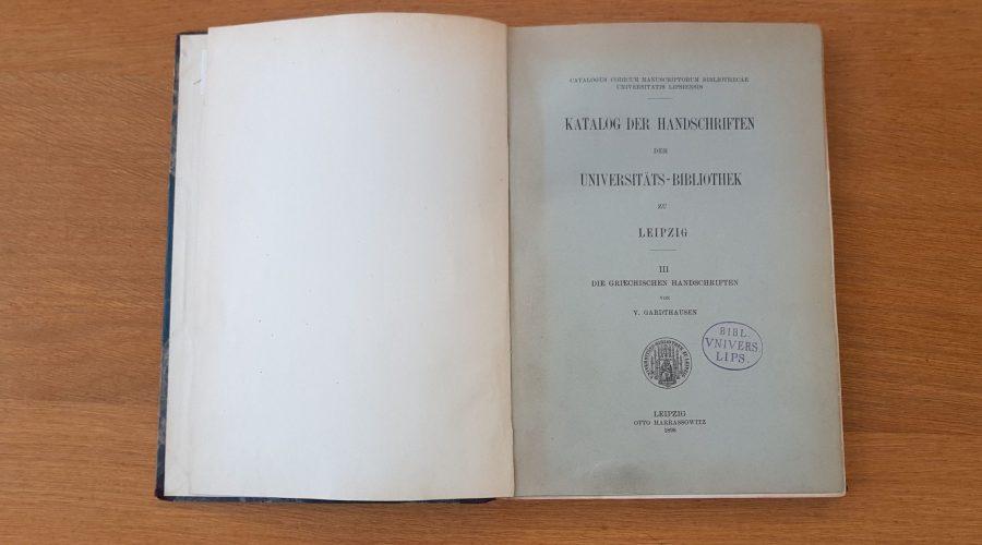 Katalog der griechischen Handschriften von 1898