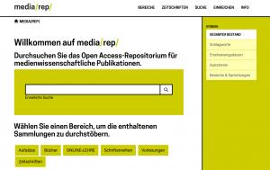 Screenshot der Internetseite des Fachrepositoriums für die Medienwissenschaft media/rep